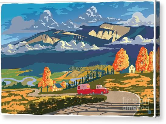Retro Travel Autumn Landscape Canvas Print