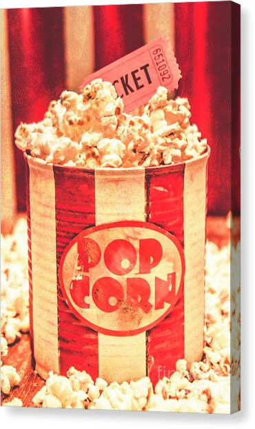 Popcorn Canvas Print - Retro Tub Of Butter Popcorn And Ticket Stub by Jorgo Photography - Wall Art Gallery