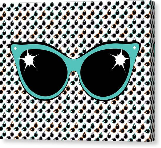Retro Turquoise Cat Sunglasses Canvas Print