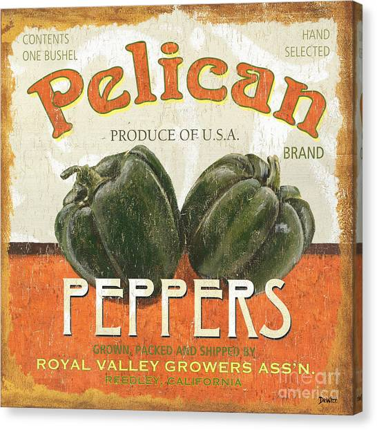Pelicans Canvas Print - Retro Veggie Labels 3 by Debbie DeWitt