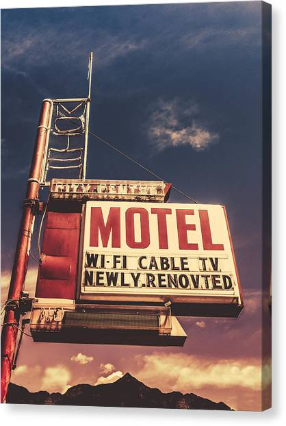 1950s Canvas Print - Retro Vintage Motel Sign by Mr Doomits