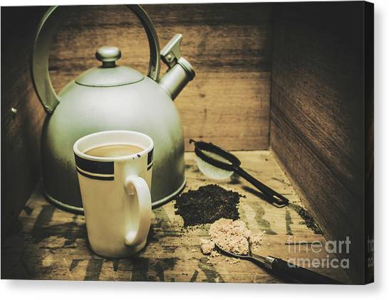 Tea Leaves Canvas Print - Retro Vintage Toned Tea Still Life In Crate by Jorgo Photography - Wall Art Gallery