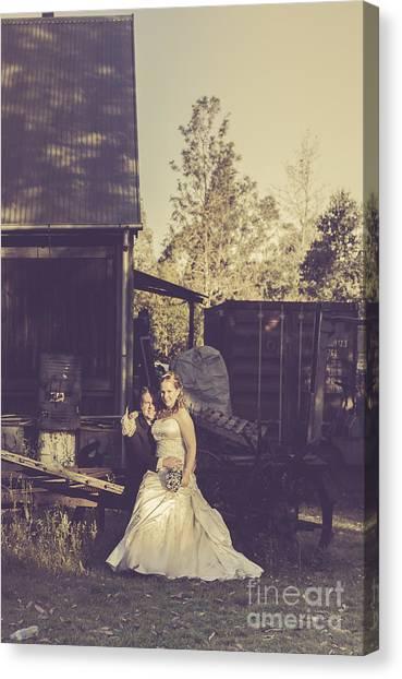 Wedding Bouquet Canvas Print - Retro Wedding Couple At Australian Farm Cottage by Jorgo Photography - Wall Art Gallery