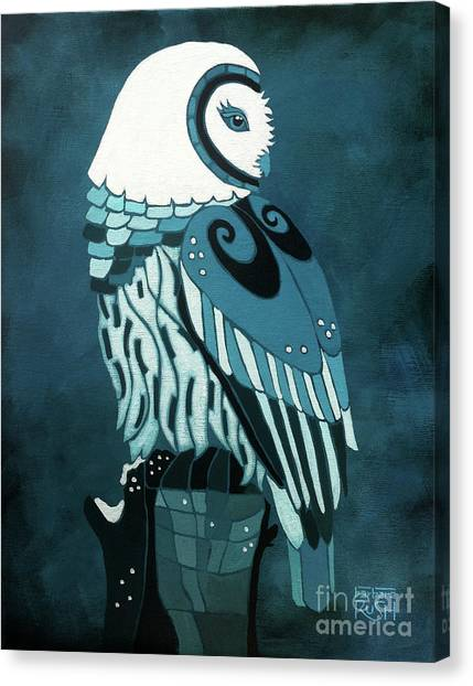 Retrospect In The Moonlight Owl Canvas Print