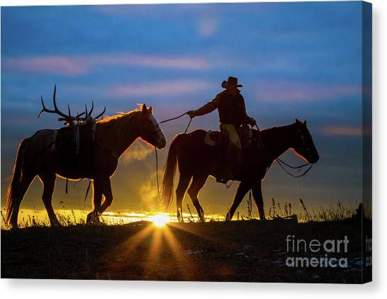 American Cowboy Canvas Print - Returning Home by Inge Johnsson