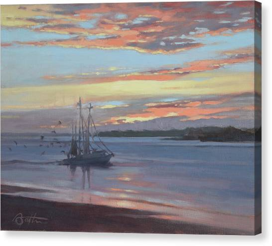 Shrimp Boats Canvas Print - Returning With The Catch by Todd Baxter