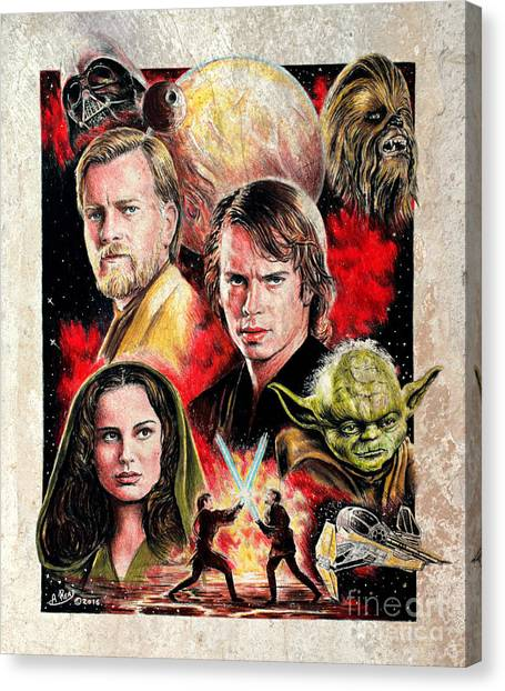 Obi-wan Kenobi Canvas Print - Revenge Of The Sith  Splash Effect by Andrew Read