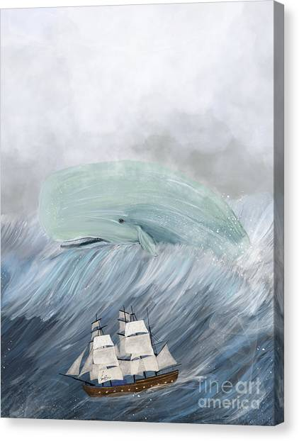 Blue Whales Canvas Print - Revenge Of The Whale by Bri Buckley