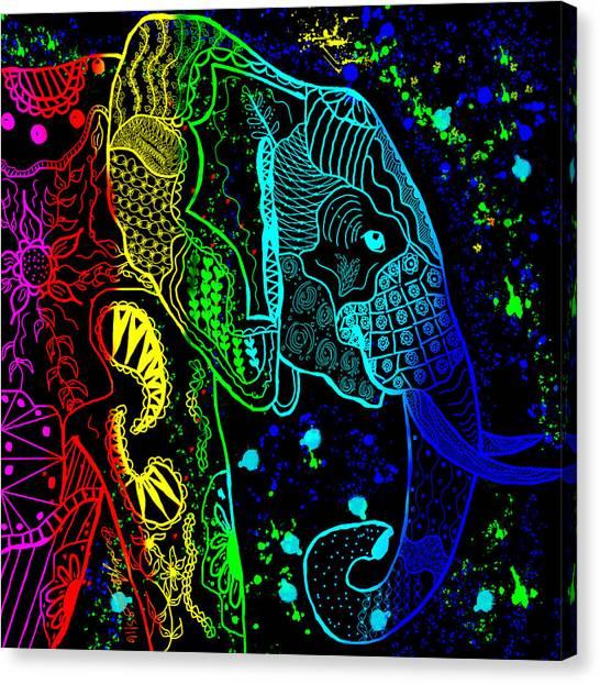 Rainbow Zentangle Elephant With Black Background Canvas Print