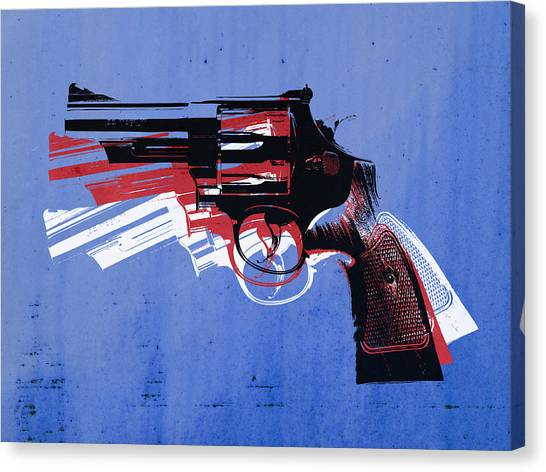 Pistols Canvas Print - Revolver On Blue by Michael Tompsett