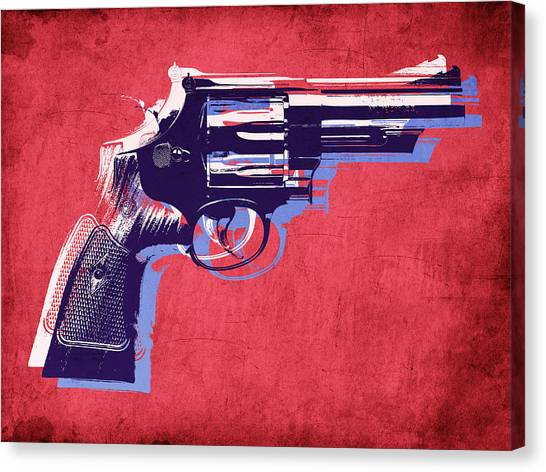 Pistols Canvas Print - Revolver On Red by Michael Tompsett