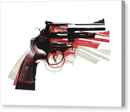 Pistols Canvas Print - Revolver On White - Right Facing by Michael Tompsett