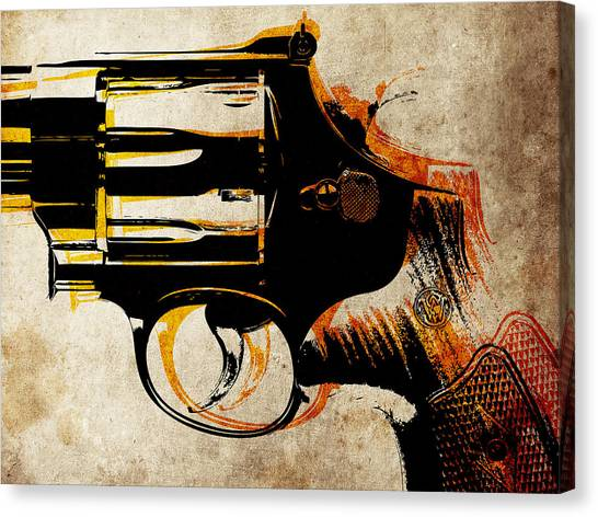 Guns Canvas Print - Revolver Trigger by Michael Tompsett