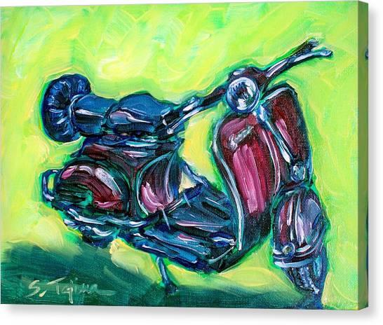 Revving Red Vespa Canvas Print by Sheila Tajima