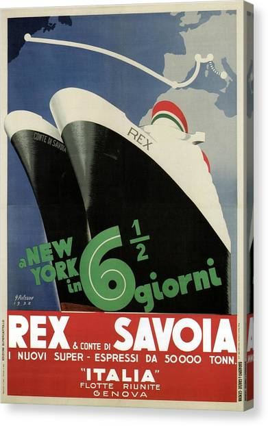 Rex, Conte Di Savoia - Italian Ocean Liners To New York - Vintage Travel Advertising Posters Canvas Print