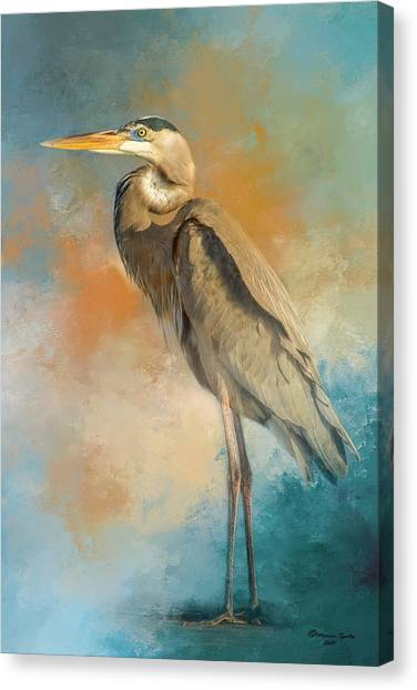 Egret Canvas Print - Rhapsody In Blue by Marvin Spates