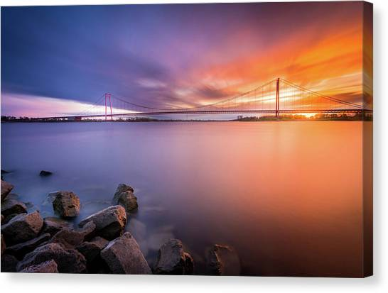 Rhine Bridge Sunset Canvas Print