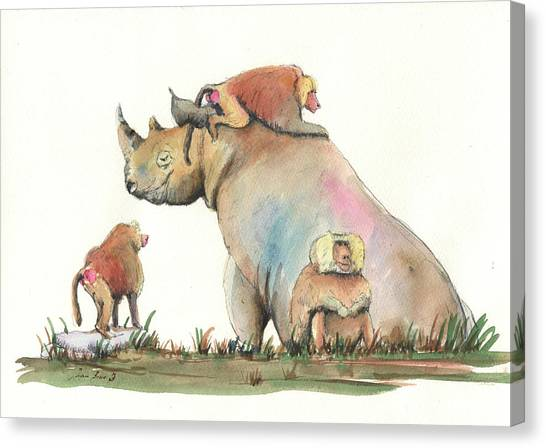 Rhinos Canvas Print - Rhino And Baboons by Juan Bosco