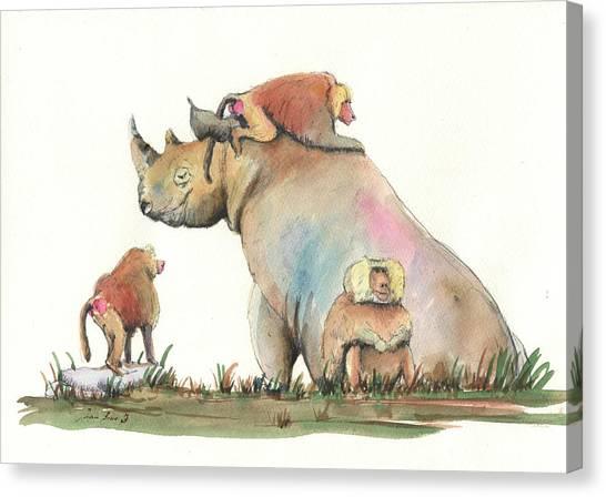 Rhinos Canvas Print - Rhino And Baboons by Juan Bosco
