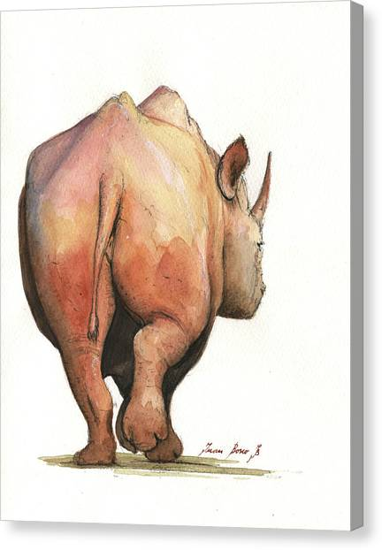 Rhinos Canvas Print - Rhino Back by Juan Bosco
