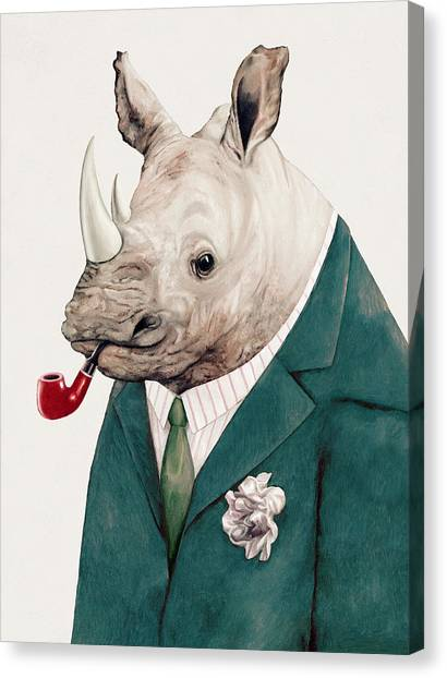 Offices Canvas Print - Rhino In Teal by Animal Crew