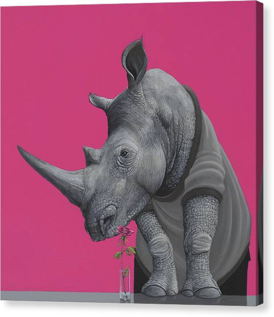 Rhinos Canvas Print - Rhino by Jasper Oostland