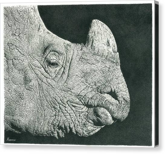 Large Mammals Canvas Print - Rhino Pencil Drawing by Remrov