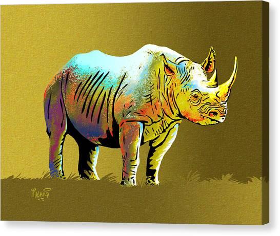 One Horned Rhino Canvas Print - Rhinoceros by Anthony Mwangi