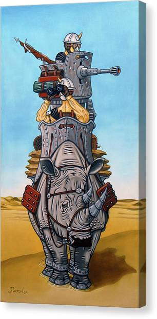 Canvas Print featuring the painting Rhinoceros Riders by Paxton Mobley