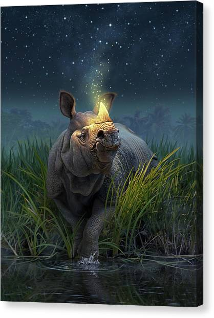 Rhinos Canvas Print - Rhinoceros Unicornis by Jerry LoFaro