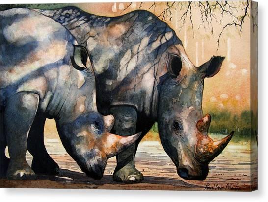 Rhino Canvas Print - Rhinos In Dappled Shade. by Paul Dene Marlor