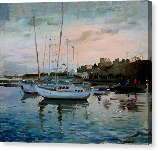 Marinas Canvas Print - Rhodes Mandraki Harbour by Ylli Haruni