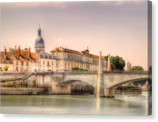 Bridge Over The Rhone River, France Canvas Print