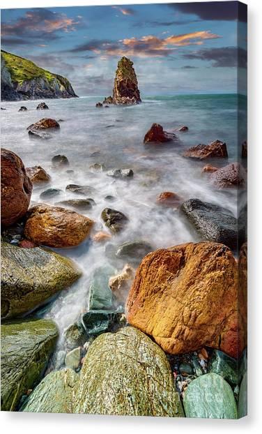 Beach Cliffs Canvas Print - Rhoscolyn Rocky Coastline  by Adrian Evans