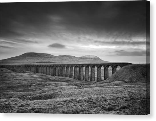 Countryside Canvas Print - Ribblehead Viaduct Uk by Ian Barber