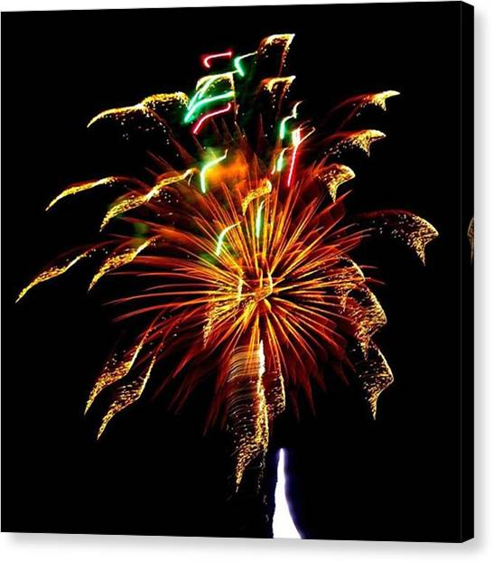 Independence Day Canvas Print - Ribbons Of Lightfireworks Taken Over by Leah McPhail