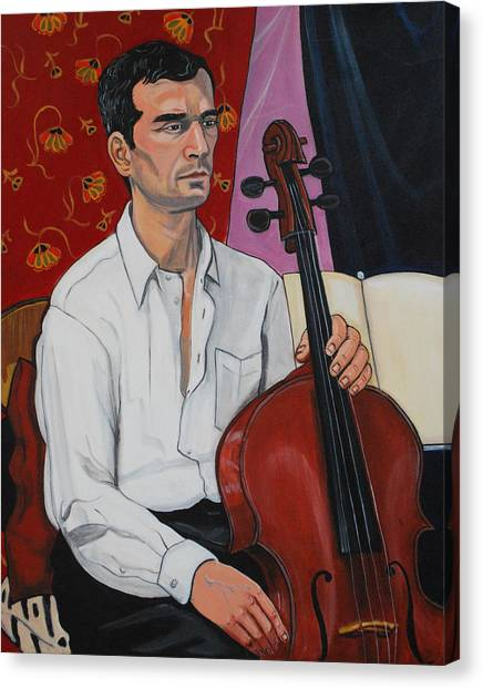 Ricardo With Cello Canvas Print by Diana Blackwell