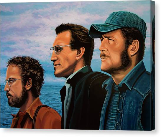 Jaws Canvas Print - Jaws With Richard Dreyfuss, Roy Scheider And Robert Shaw by Paul Meijering