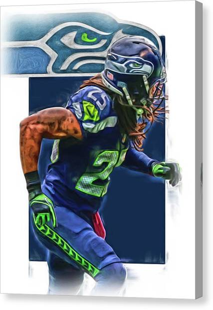 Seattle Seahawks Canvas Print - Richard Sherman Seattle Seahawks Oil Art by Joe Hamilton