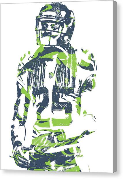 Seattle Seahawks Canvas Print - Richard Sherman Seattle Seahawks Pixel Art 12 by Joe Hamilton
