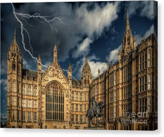 Palace Of Westminster Canvas Print - Richard The Lionheart by Adrian Evans