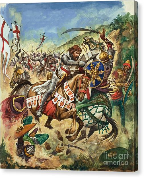 Palestinian Canvas Print - Richard The Lionheart During The Crusades by Peter Jackson