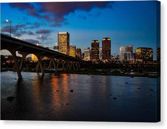 Richmond Skyline At Night Canvas Print