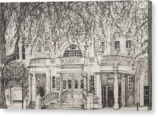 Pen And Ink Drawing Canvas Print - Richmond Theatre London by Vincent Alexander Booth