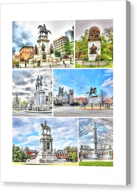 Virginia Commonwealth University Vcu Canvas Print - Richmond Va Virginia - Monuments Collage by Dave Lynch