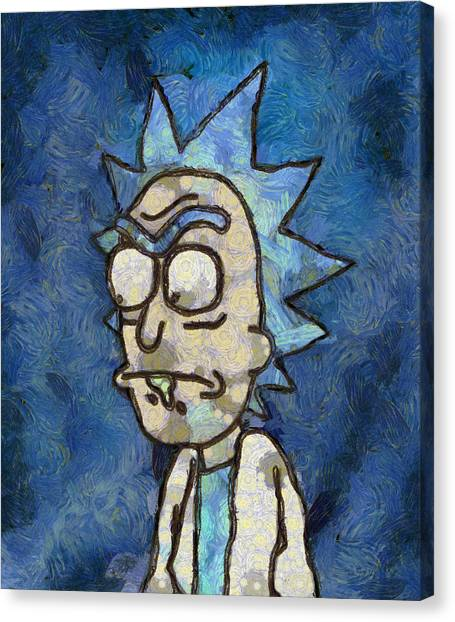 Canvas Print featuring the digital art Rick Van Gogh by Rick And Morty