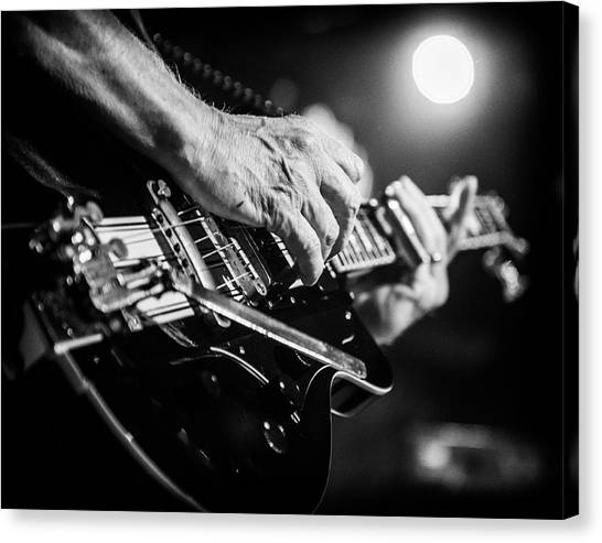 Slide Guitars Canvas Print - Rick Vito Guitar Black And White by Christopher Cutter