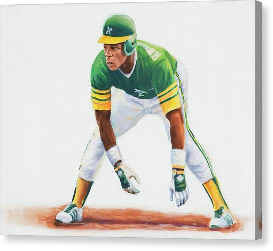 Oakland Athletics Canvas Print - Rickey Henderson by Angie Villegas