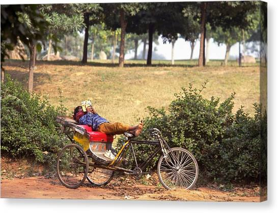 Travelpics Canvas Print - Rickshaw Rider Relaxing by Travel Pics
