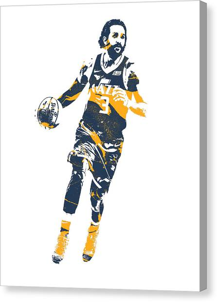 Utah Jazz Canvas Print - Ricky Rubio Utah Jazz Pixel Art 20 by Joe Hamilton